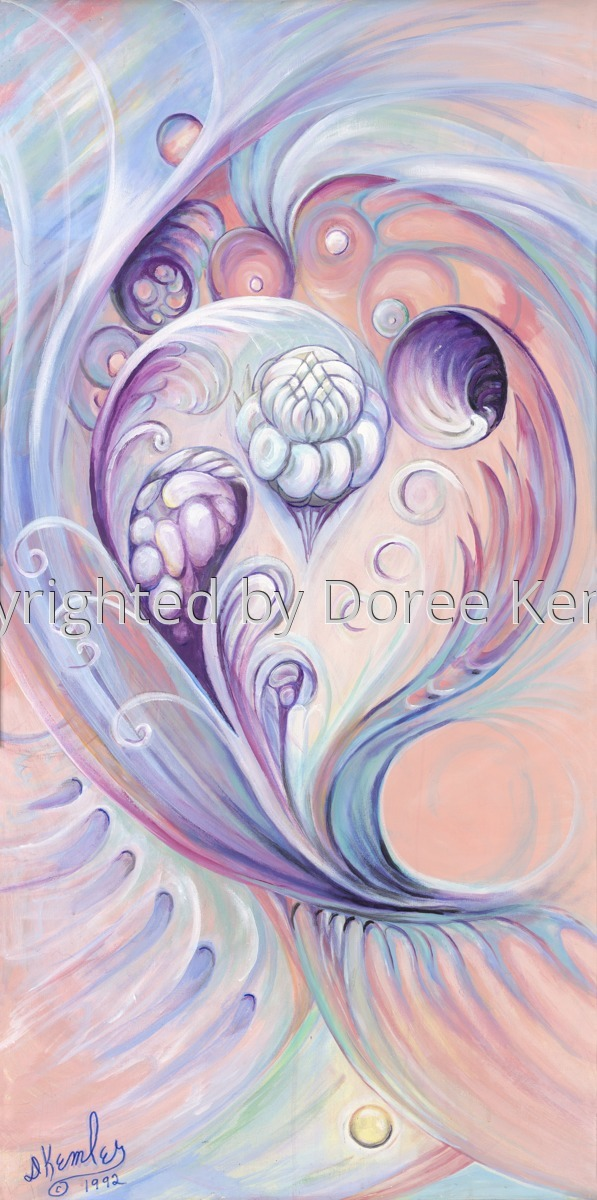 """Abstract acrylic painting by Doree S. Kemler entitled """"Symphony in Blue and Peach."""" (large view)"""