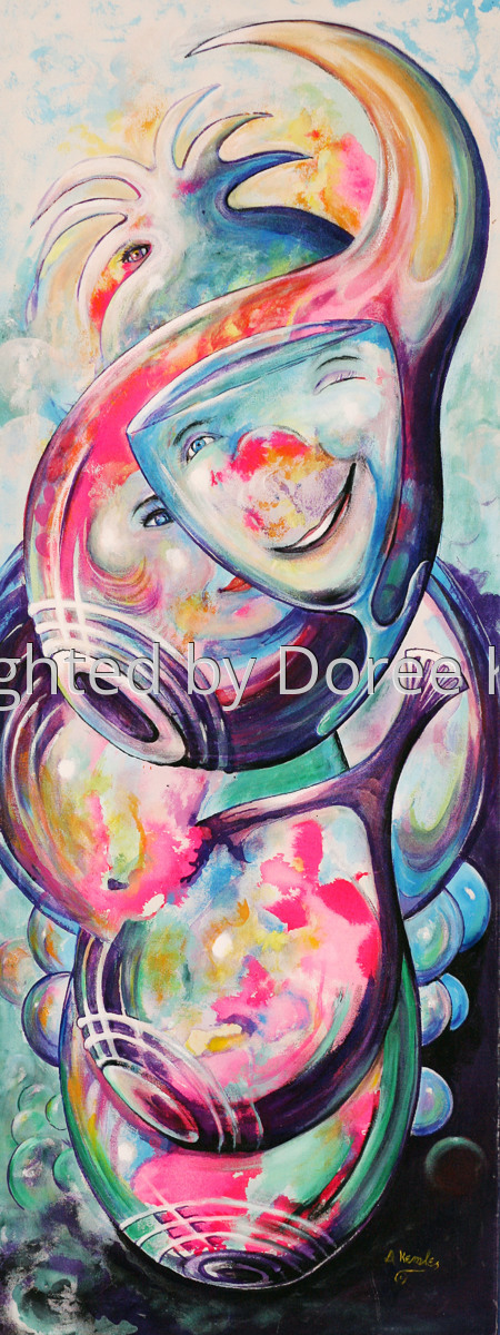 """Abstract acrylic painting by Doree S. Kemler entitled """"The Party."""" (large view)"""