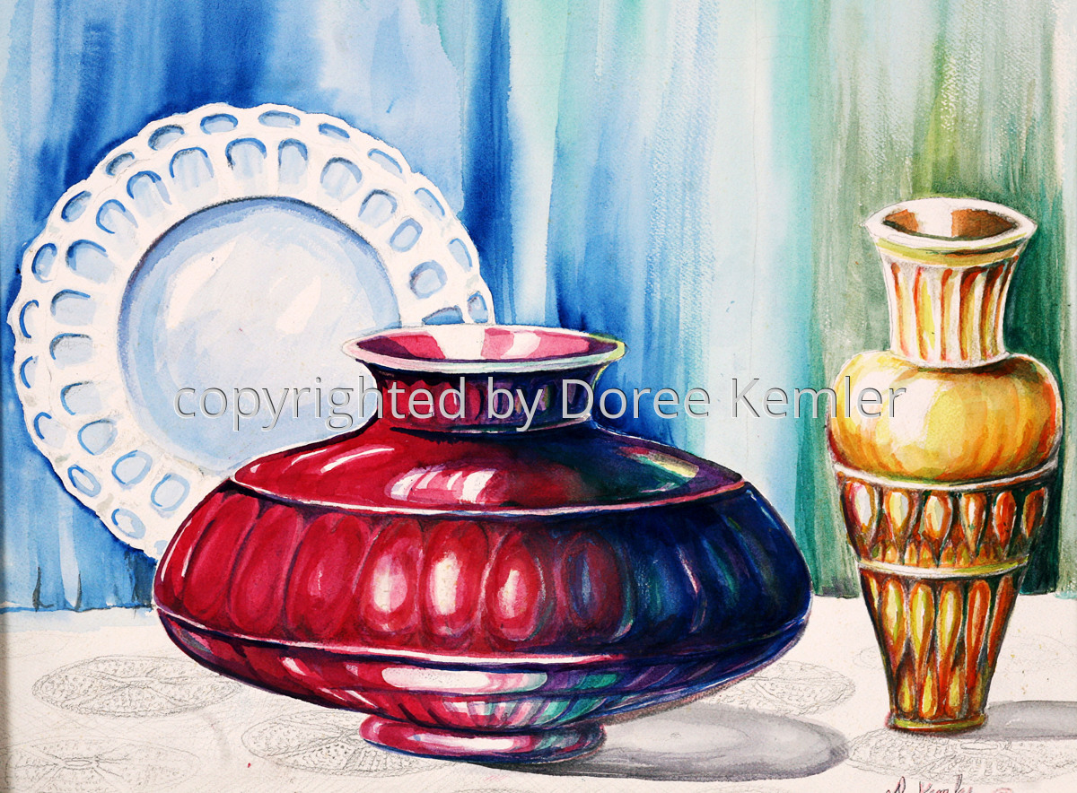 "A watercolor painting by Doree S. Kemler entitled ""The Red Vase."" (large view)"
