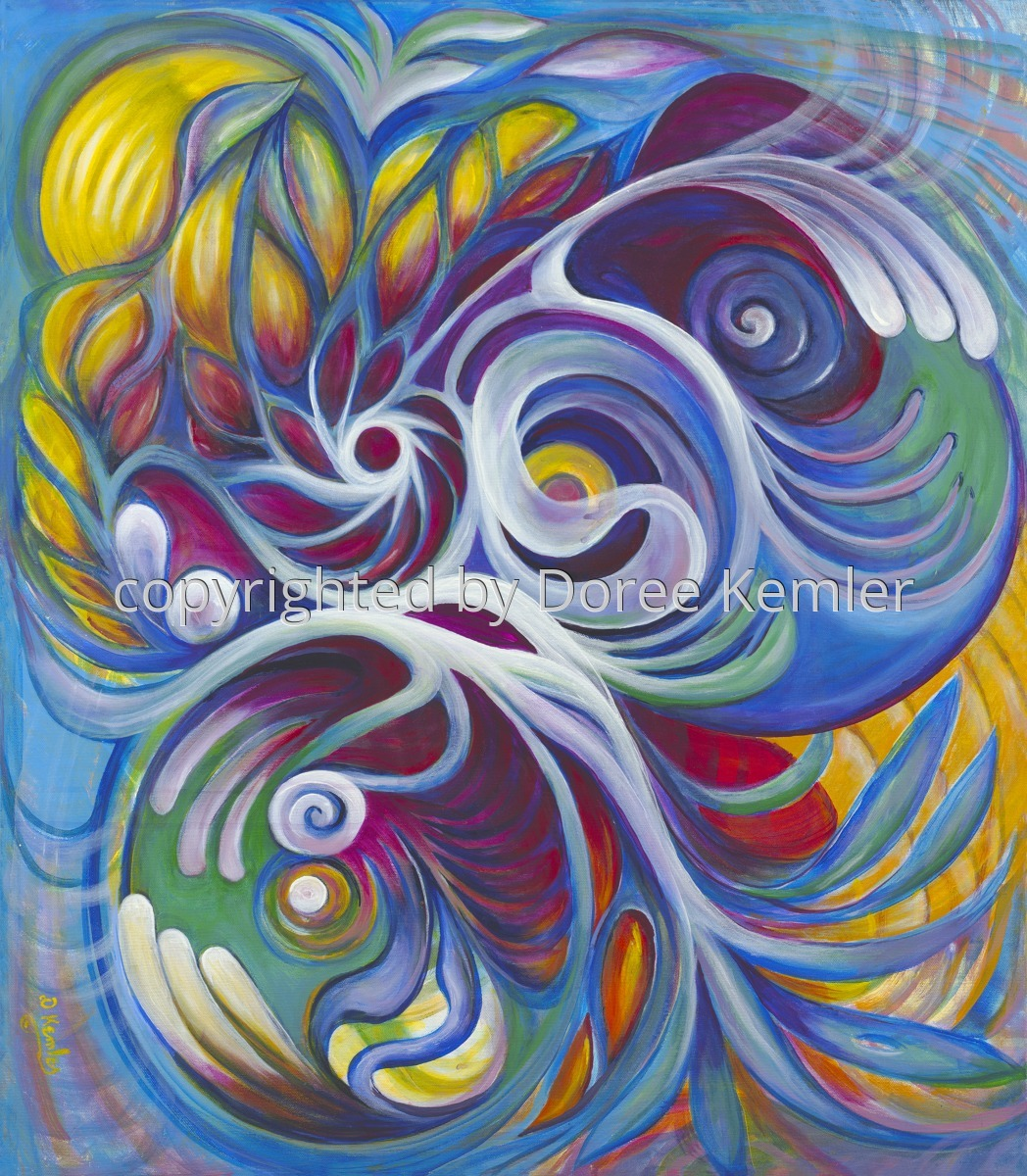 """A watercolor painting by Doree S. Kemler entitled """"Thought Form #11."""" (large view)"""