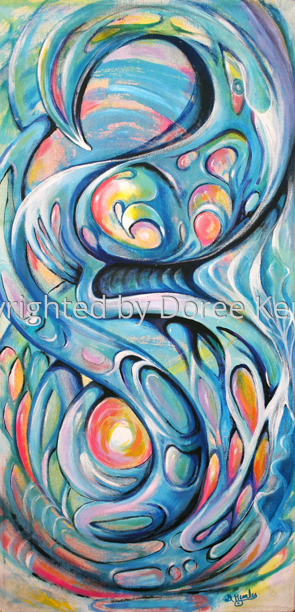 """Abstract acrylic painting by Doree S. Kemler entitled """"Voyage in Space."""" (large view)"""