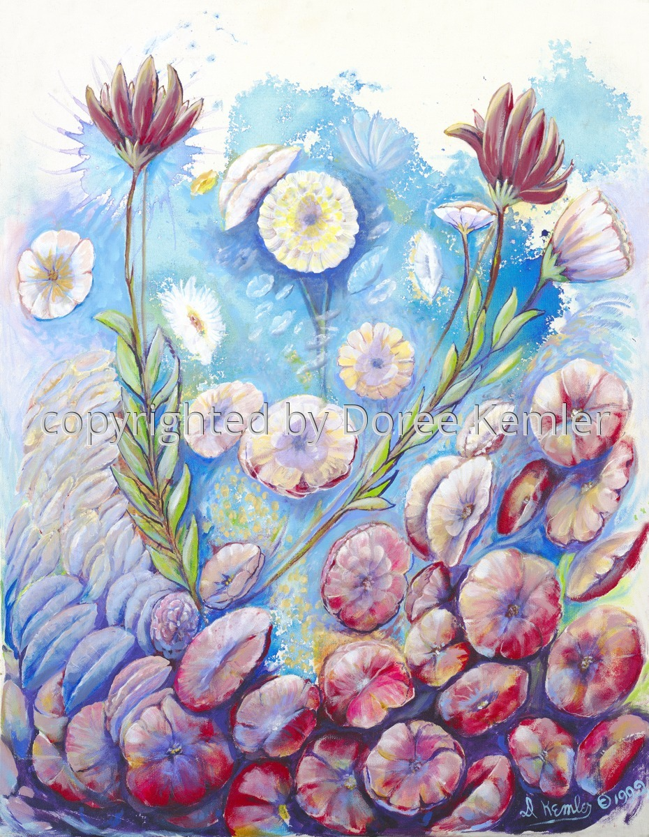 """Abstract acrylic painting by Doree S. Kemler entitled """"Wildflowers #3."""" (large view)"""