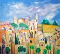 "Abstract acrylic painting by Doree S. Kemler entitled ""Jerusalem."" (thumbnail)"