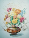 Abstract acrylic painting by Doree S. Kemler entitled Flowers in a Bronze Bowl. (thumbnail)