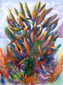 Abstract acrylic painting by Doree S. Kemler entitled My Favorite Plant. (thumbnail)