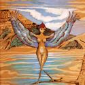 Abstract woodburning/acrylic painting by Doree S. Kemler entitled Birdlady 1. (thumbnail)