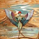 "Abstract woodburning/acrylic by Doree S. Kemler entitled ""Birdlady 2"" (thumbnail)"