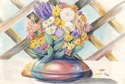 "watercolor painting by Doree S. Kemler entitled ""Flowers in a Brown Bowl."" (thumbnail)"