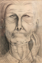 "Pencil on paper drawing by Doree S. Kemler entitled ""Grandma."" (thumbnail)"
