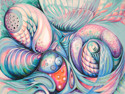 "Abstract acrylic painting by Doree S. Kemler entitled ""Seashells by the Seashore."" (thumbnail)"