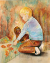 "A watercolor painting by Doree S. Kemler entitled ""The Botany Lesson."" (thumbnail)"