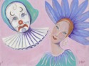 "Abstract acrylic painting by Doree S. Kemler entitled ""The Clowns."" (thumbnail)"