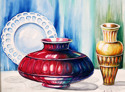 "A watercolor painting by Doree S. Kemler entitled ""The Red Vase."" (thumbnail)"
