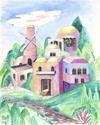 Montofiores Windmill -watercolors on paper (thumbnail)