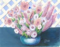 Pink Flowers in a Blue Vase (thumbnail)