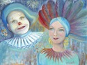 A Lady and a Clown #1 -acrylic on canvas board (thumbnail)