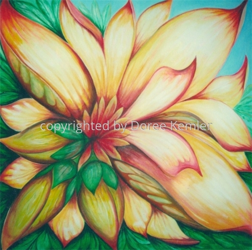 Abstract acrylic painting by Doree S. Kemler entitled Summer in Flower. (large view)