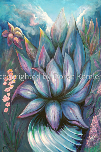 Abstract acrylic painting by Doree S. Kemler entitled Untitled Abstract Floral #3.