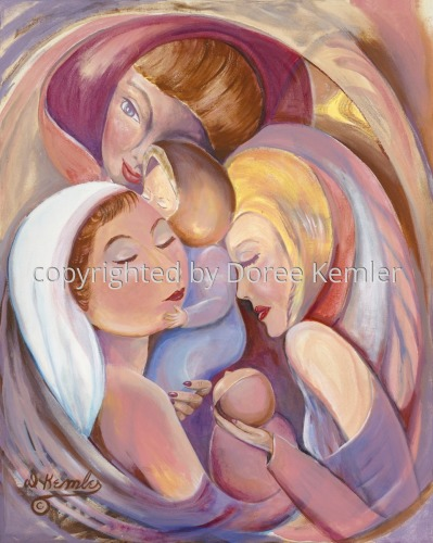 Abstract acrylic painting by Doree S. Kemler entitled The Mothers.
