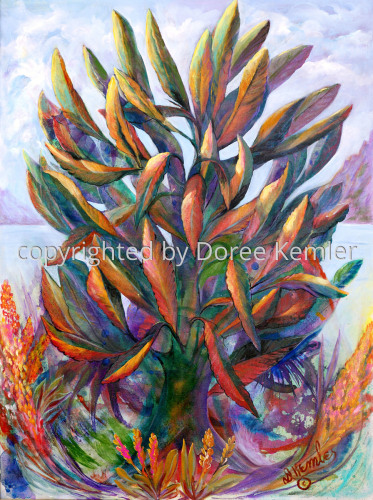 Abstract acrylic painting by Doree S. Kemler entitled My Favorite Plant. (large view)