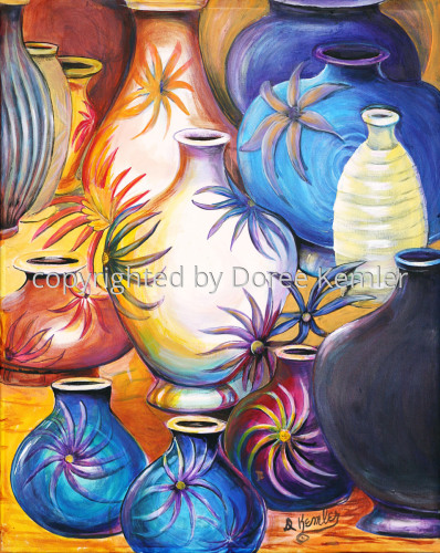 A Gathering of Vases #3 -acrylic on canvas