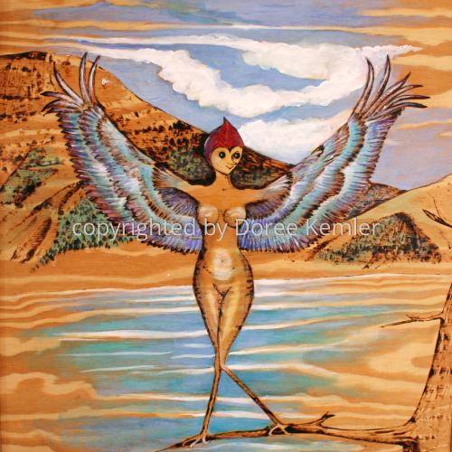 Abstract woodburning/acrylic painting by Doree S. Kemler entitled Birdlady 1.