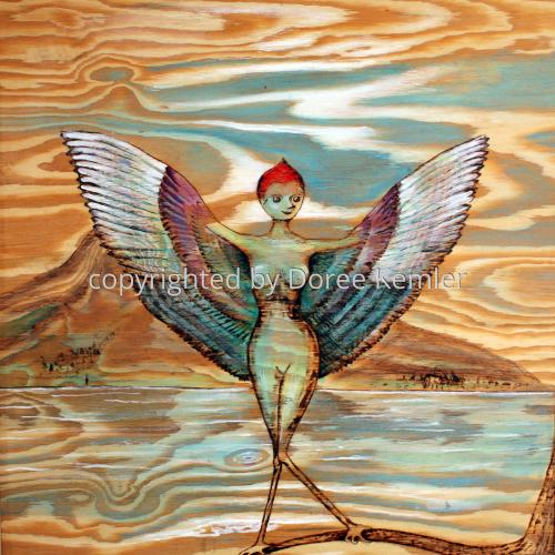 Abstract woodburning/acrylic by Doree S. Kemler entitled