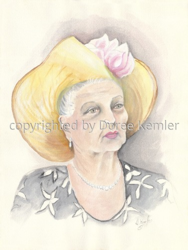 Portrait of Mrs. Jennifer  -watercolors on paper by Doree S. Kemler   -THIS SITE IS CURRENTLY UNDER RE-CONSTRUCTION, but it is safe to browse.