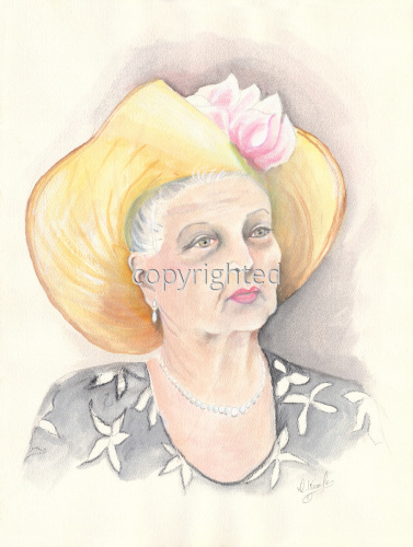 Painting--Watercolor-FigurativeOlder Woman in Hat