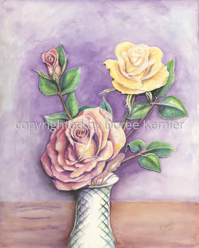 Painting--Watercolor-BotanicalThree Roses