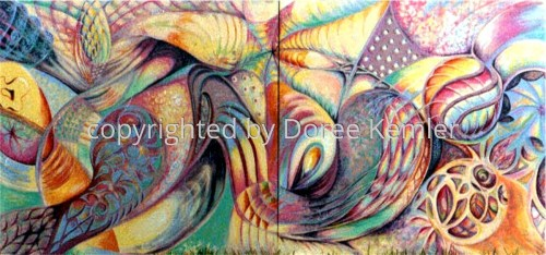 An untitled, abstract diptych (a 2 panel/canvas). (thumbnail)