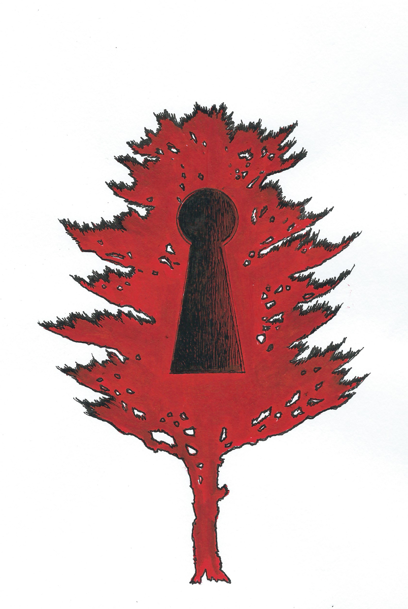 Red Tree with Keyhole (large view)