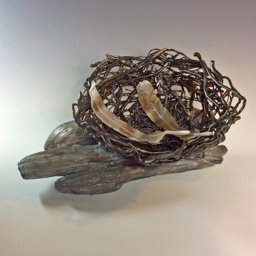 Large Bird Nest with Feathers