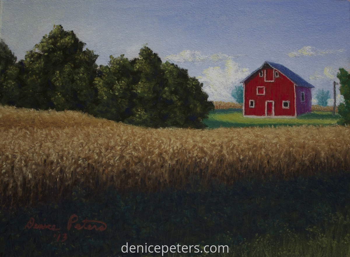 A mini pastel painting of a bright red barn in a cornfield in Iowa. (large view)