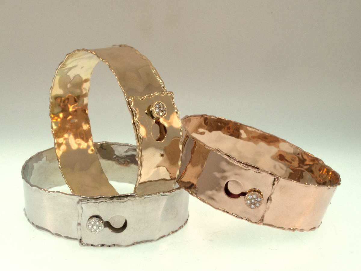 14K Yellow Gold, Rose Gold, & White Gold Diamond Button Cuffs (large view)