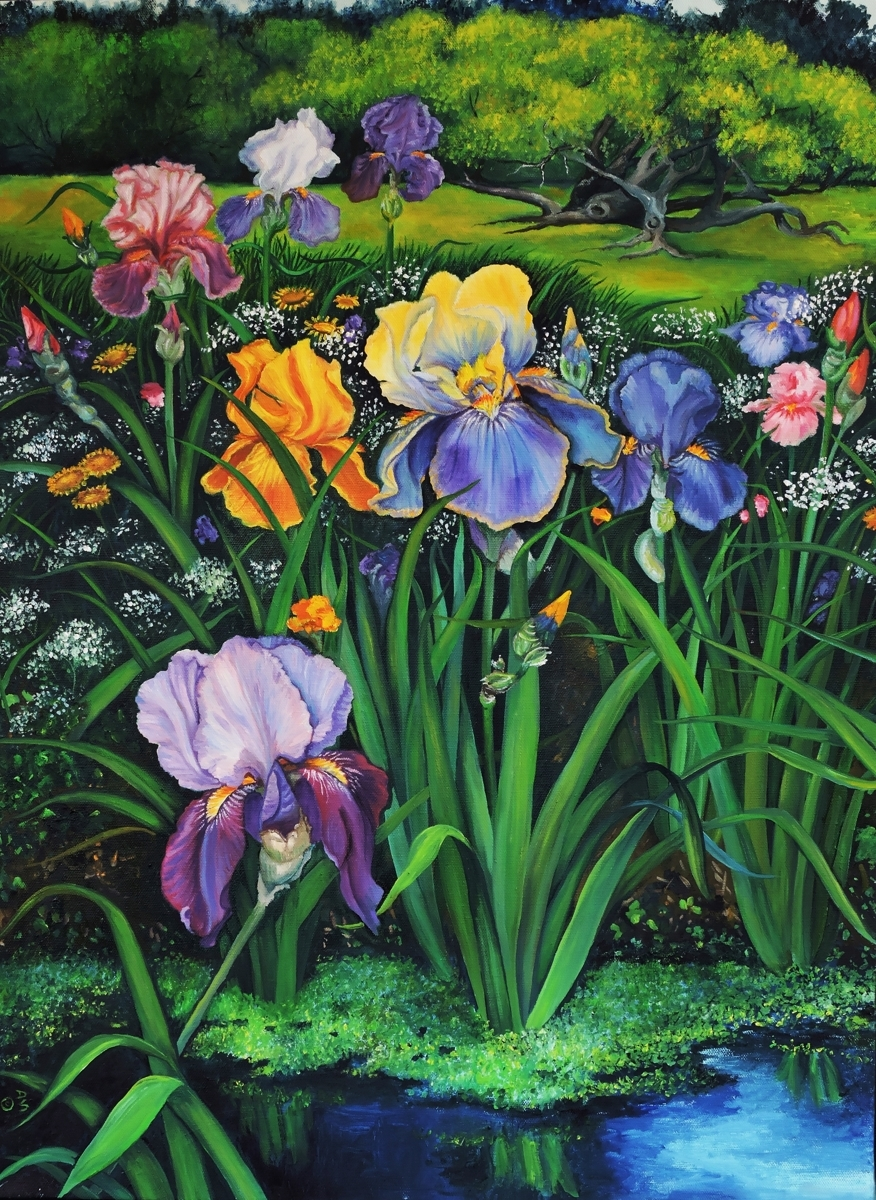 Spring Irises - left panel print (large view)