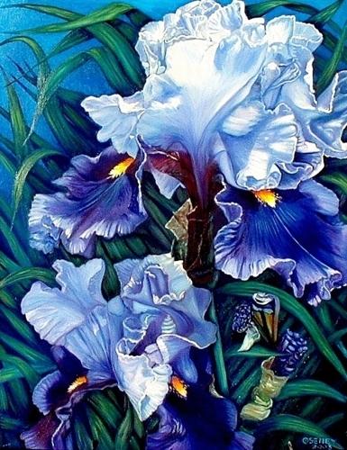 Lt. Blue Irises by DEBRA SENEY - CLOUSTON FINE ART GALLERY