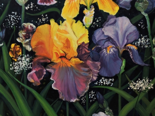 Yellow and Blue Iris by Debra Seney