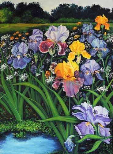 Spring Irises - right panel print by DEBRA SENEY-CLOUSTON FINE ART GALLERY
