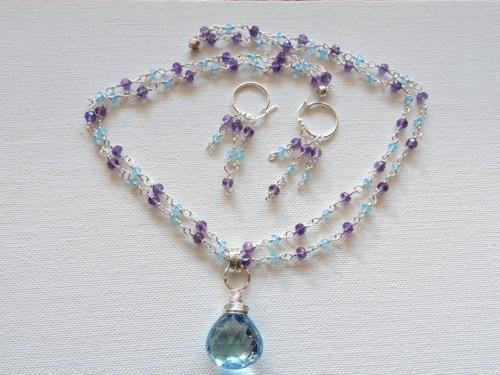 Amethyst and Blue topaz jewelry set by DEBRA SENEY-CLOUSTON FINE ART GALLERY