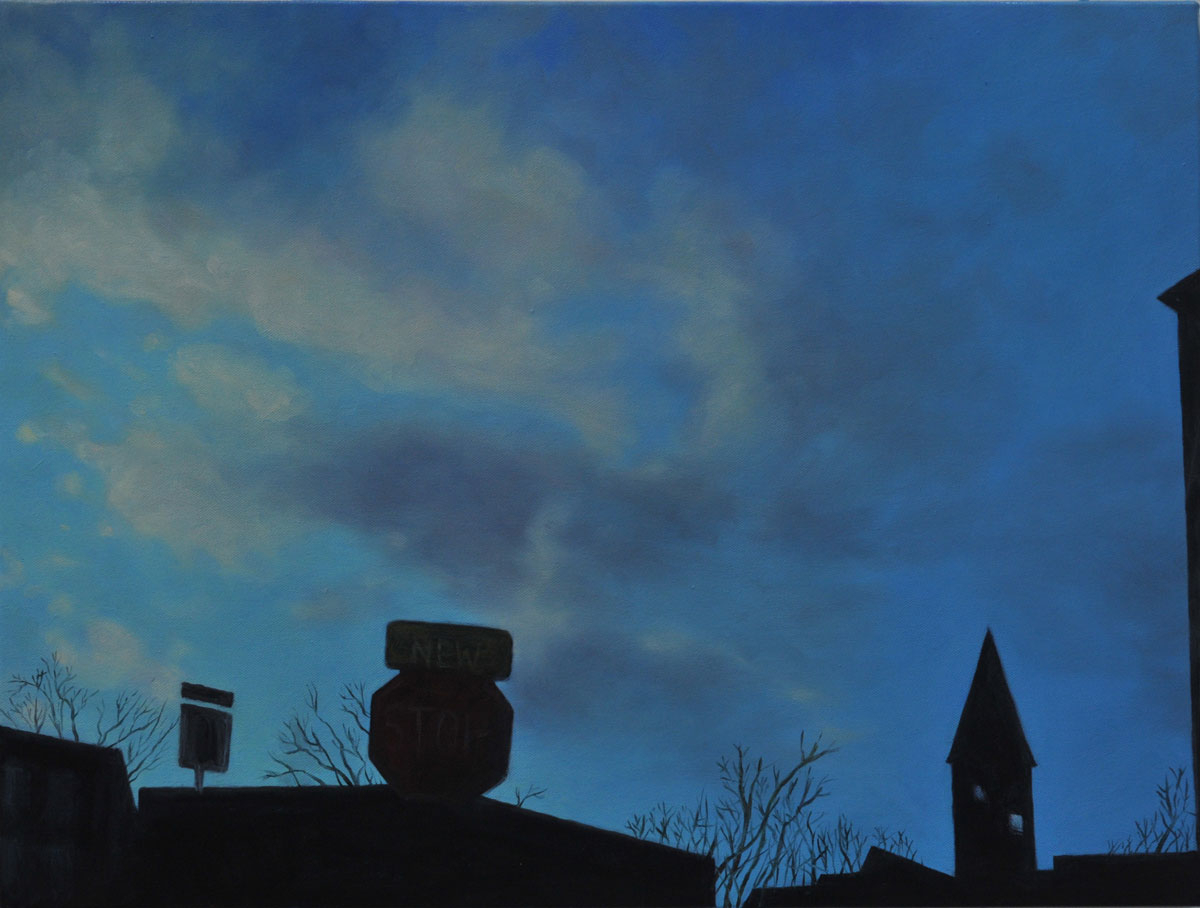 Twilight Stop Sign & Steeple (large view)