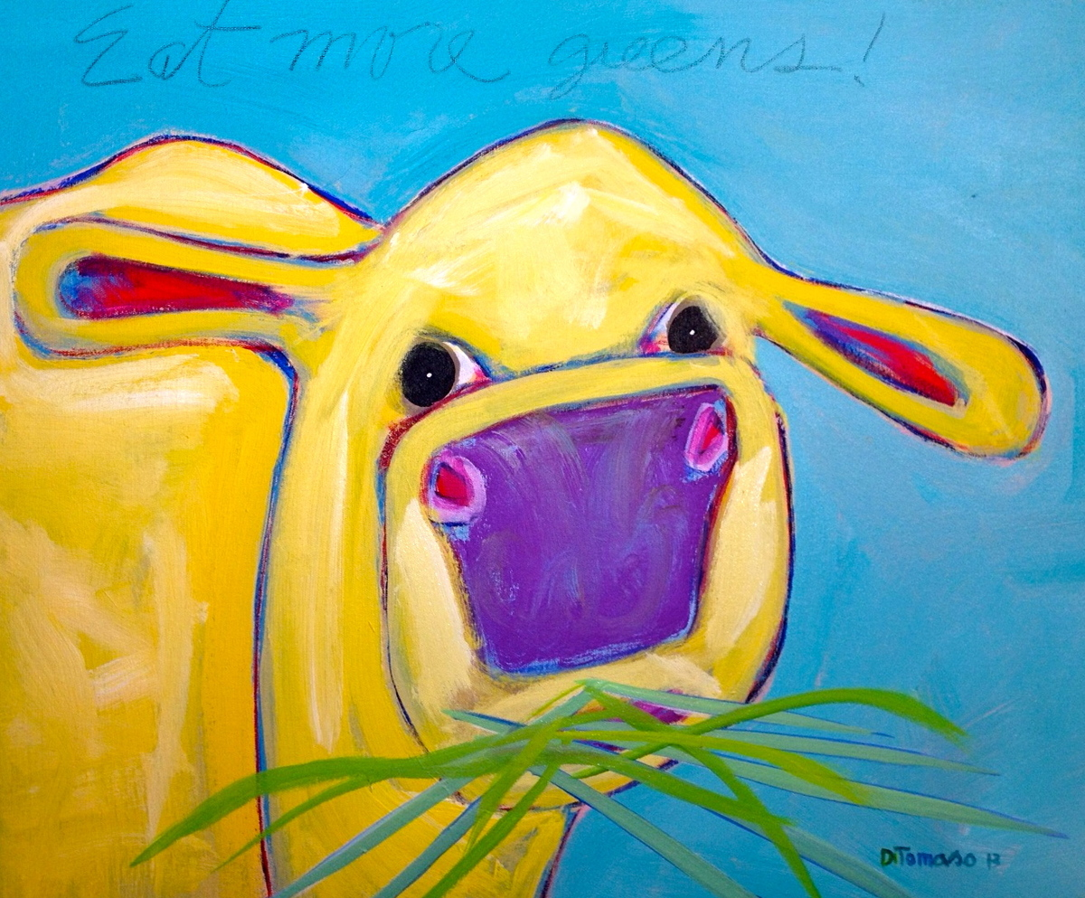 Yellow Cow Eating Grass (large view)