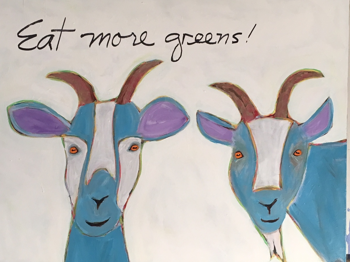 Two Blue Goats 30x36 (large view)