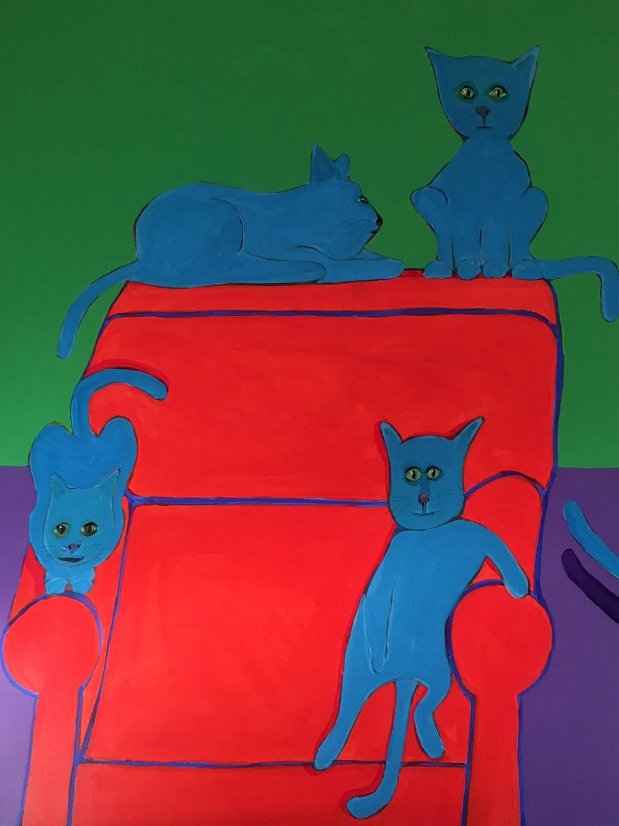5 Cats and a Chair 48x36 (large view)