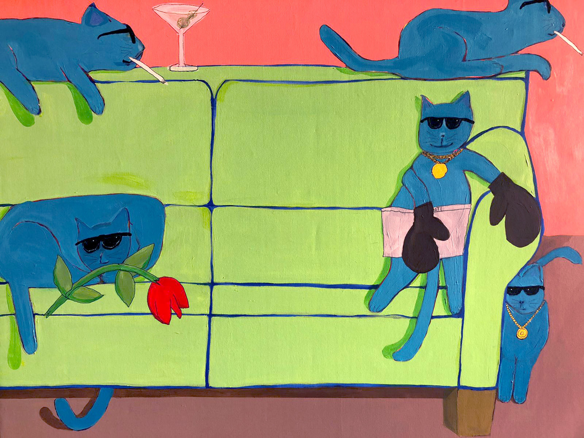7 Cool Cats and a Sofa  48x36 (large view)