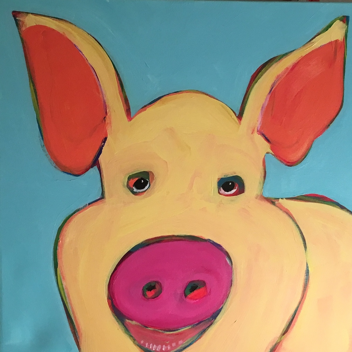 Yellow Pig Face 20x20 (large view)