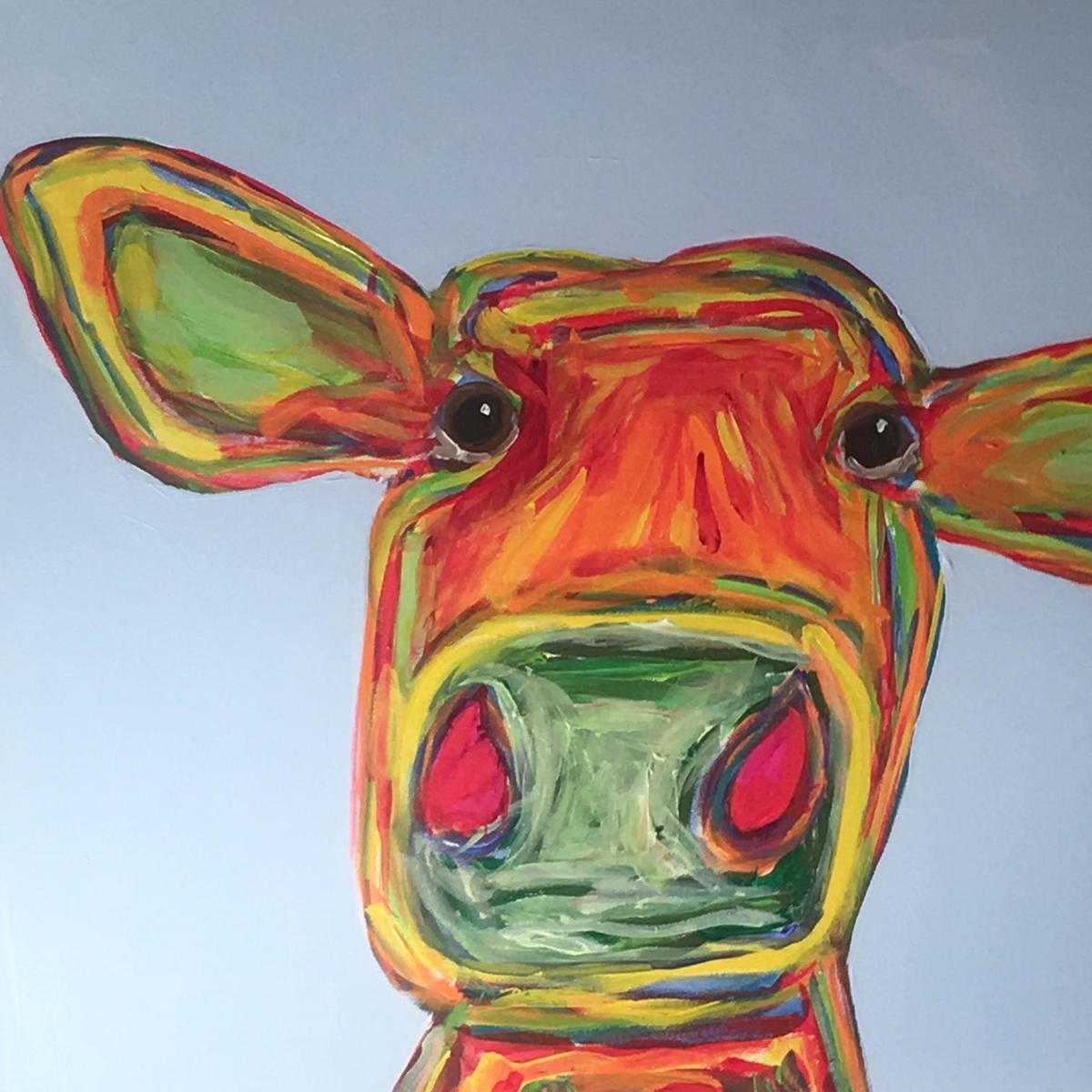 Rainbow Cow 20x20 (large view)