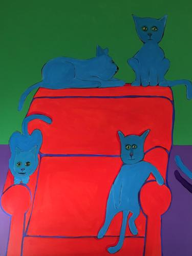 5 Cats and a Chair 48x36
