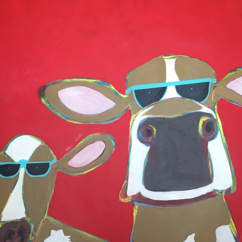 Two Brown Cows 36x36 by Tomaso DiTomaso