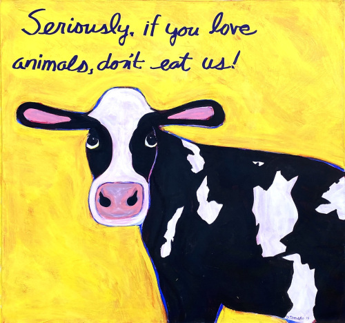 Cow on Yellow 36x36 by Tomaso DiTomaso